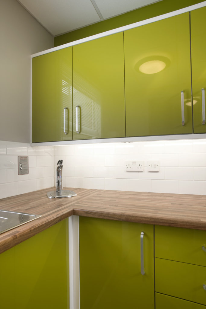 lime green office kitchen refurbishment