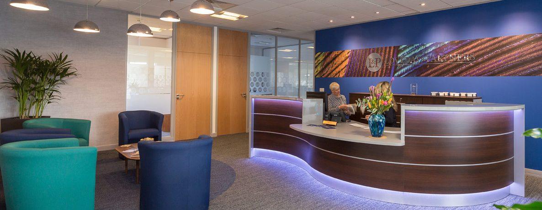 Bold Reception Design. Farnell Clarke Office Design