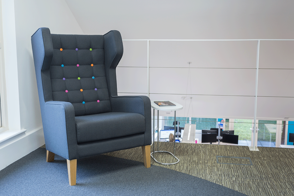 Big blue chair in office design